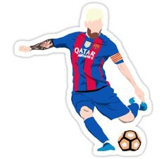 'Lionel Messi Cartoon' Sticker by XanderEis Messi 10, Lionel Messi, Messi Poster, Soccer Memes, Small Canvas Art, Cartoon Stickers, Fc Barcelona, Leo, Football