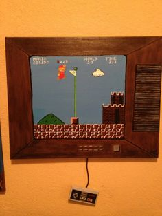 "Mario Flag Acrylic Original Painting 16""x20"" with old TV border and painted nintendo controller on Etsy, $65.00"