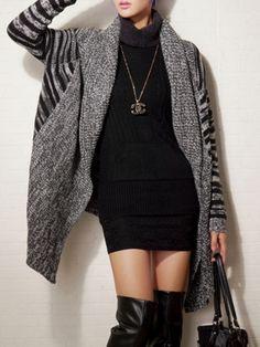 Gray Stripes Asymmetric Hem Long Sleeve Cardigan | Choies