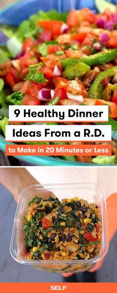 These healthy dinner ideas are so easy and delicious! Jessica Jones of Food Heaven Made Easy is a registered dietitian who loves to make plant-based vegan/vegetarian-friendly meals! Try this delicious veggie salad bowl or brown rice salsa salad for quick, filling meals you can take on the go for lunch too!
