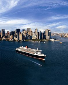 Queen Mary 2, one of the Cunard's cruise ships in New York Harbor
