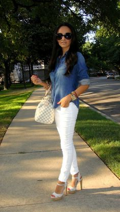 Spring / Summer Outfit - Denim Button Up Top - White Skinny Jeans - White Sandal Heels - Sunglasses