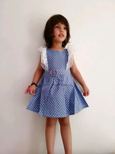 French Blue Polka Picnic Frock at Foreverkidz