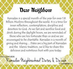 dear neighbor card: to share treats with about ramadan