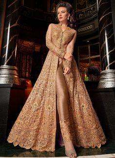cca4e7eb3db3 Champagne Gold Embroidered Pant Style Anarkali – Lashkaraa Fashion Pants
