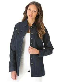 "Roamans Women's Plus Size Long Jean Jacket   Roamans Women's Plus Size Long Jean Jacket All of your favorite plus size jean jacket details are here. Choose from solid twill or rich denim in the seasons newest shades and longer length. this flattering coat is gently shaped, sitting closer to the body; you can be confident that it will provide enough room for a beautiful fit falling to about 30"", the low hip length gives ultimate coverage and style flattering seaming details throughout.."