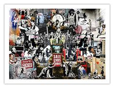 the best of banksy abstract Super Size Collage Print Murel Street Art Graffiti Urban canvas painting wall decor Banksy Graffiti, Arte Banksy, Banksy Artwork, Street Art Graffiti, Graffiti Bridge, Art Mural Photo, Art Du Collage, Digital Collage, Paper Wall Art