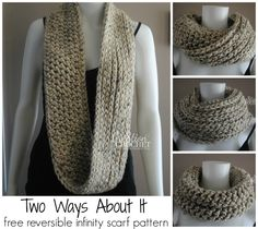 Two Ways About it - reversible free infinity scarf pattern.  I love how one side looks knit and one side looks crochet.