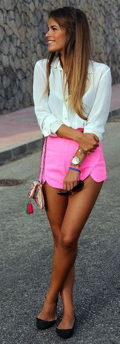 #spring #neon #trend #outfitideas |White + Neon Pink