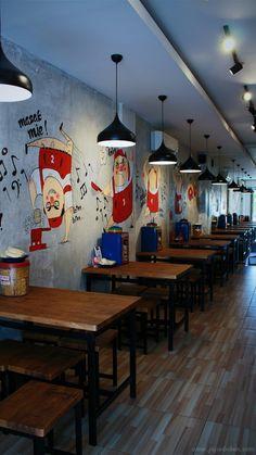 Warung Laper restoran indomie kekinian, ropang, murah berlokasi di Ruko Palm Citra Garden Cengkareng Jakarta Barat Coffee Shop Bar, Coffee Shop Design, Cafe Design, Rustic Design, Japanese Restaurant Design, Small Restaurant Design, Restaurant Concept, Unique Cafe, Room Partition Designs