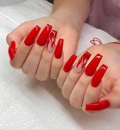 red nails / red nails & red nails acrylic & red nails design & red nails glitter & red nails coffin & red nails short & red nails acrylic coffin & red nails with rhinestones Red Nail Art, Acrylic Nails Coffin Short, Summer Acrylic Nails, Blue Nail, Coffin Nails, Red Summer Nails, Acrylic Nail Designs Coffin, Long Nail Art, Edgy Nails