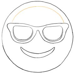 Sunglass Emoji Faces Coloring Pages Sketch Coloring Page
