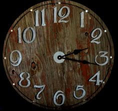Cut from discarded barn wood, this clock boasts a great patina!  22 Inch RUSTIC BARNWOOD RECYCLED Wall Clock by ClocksByHomestead, $99.00