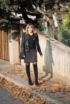 #jupe #cuissardes #boots #perfecto #lookchic #jupemango #perles