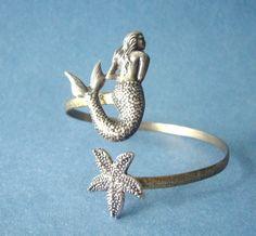 mermaid bracelet with a seashell. wrap mermaid jewelry