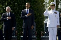 (L to R) Secretary of Defense Robert M. Gates, President Barack Obama and Chairman of the Joint Chiefs of Staff Adm. Mike Mullen on June 30, 2011. Credit: DoD photo by Mass Communication Specialist...