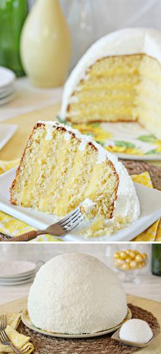 Lemon Coconut Snowball Cake - coconut cake, lemon curd, and coconut buttercream, all in a cute snowball shape! | From SugarHero.com
