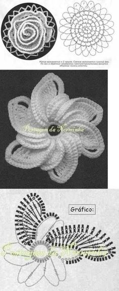 beautiful crochet rose You are in the right place about crochet patterns Here we offer you the most Crochet Diagram, Freeform Crochet, Crochet Chart, Crochet Motif, Crochet Doilies, Crochet Stitches, Crochet Books, Knitted Flowers, Crochet Flower Patterns