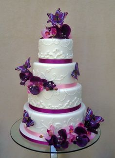 Round Wedding Cakes - * purple theme wedding cake by verity's creative cakes facebook.com/verityscreativecakes