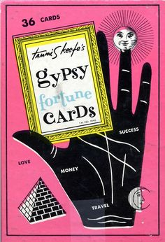 Tammis Keefe's Gypsy Fortune Cards, LeNormand Random Thoughts Publishing, c 1958 Gypsy Fortune Teller, Fortune Cards, Palm Reading, Past Present Future, Travel Money, Vintage Packaging, Fortune Telling, Vintage Wall Art, Tarot Cards