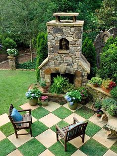 Lovely outdoor fireplace in garden.Outdoor living space and garden design service now available in the shoppes at Ashley Carol Home Garden cornelius nc Diy Garden, Garden Paths, Home And Garden, Dream Garden, Party Garden, Garden Grass, Fairy Gardening, Garden Steps, Succulent Gardening