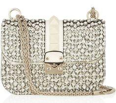 Valentino Glam Lock crystal-embellished leather shoulder bag - ShopStyle by Workman Jay Vanity Case, Valentino Handbags, Valentino Purse, Beautiful Bags, Leather Shoulder Bag, Shoulder Bags, Shoulder Handbags, Shoulder Strap, My Bags