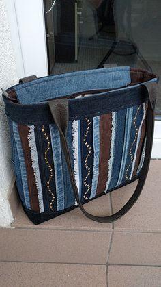 Riflová kabelka s pruhy