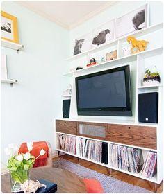 Built in shelves / media center  Something along these lines in that little nook. Shelves around the tv.