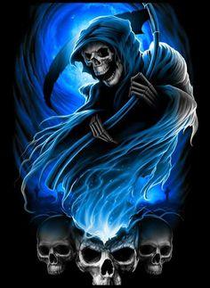 Death Reaper, Grim Reaper Art, Grim Reaper Tattoo, Don't Fear The Reaper, Horror Artwork, Skull Artwork, La Santa Muerte Tattoo, Apocalypse Tattoo, Airbrush Skull