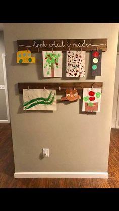 artwork display ideas & artwork display for kids ; artwork display for kids classroom ; artwork display for kids wall ideas ; artwork display for kids diy ; Displaying Kids Artwork, Artwork Display, Hanging Kids Artwork, Display Wall, Baby Room Display Boards, Art For Kids, Crafts For Kids, Diy Crafts, Art Children