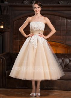 A-Line/Princess Strapless Tea-Length Satin Tulle Wedding Dress With Beading Appliques Lace Sequins (002056491)