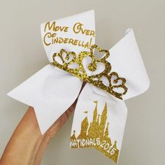 Personalized Move Over Cinderella Cheer Bow! gold glitter Tiara attached! Ponytail holder attached! Free Shipping! You can add a name! ALSO HAVE THE CASTLE SAY ANY COMPETITION NAME OR DATE!