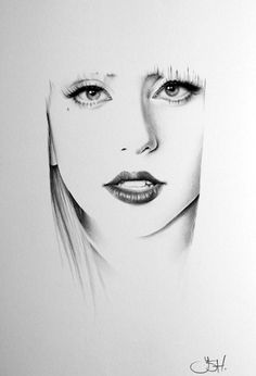 Lady Gaga. Classic Half-Erased Charcoal Drawings of Celebrities - My Modern Met
