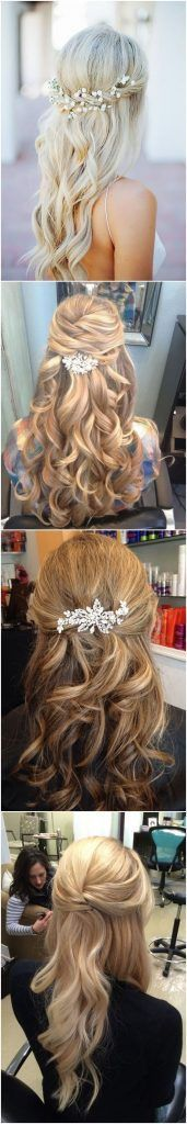 Visit for more Wedding Hairstyles 22 Half Up and Half Down Wedding Hairstyles to Get You Inspired See more: www.weddinginclud The post Wedding Hairstyles 22 Half Up and Half Down Wedding Hairstyles to Get You Ins appeared first on frisuren. Wedding Hair Down, Wedding Hair And Makeup, Bridal Hair, Hair Makeup, Wedding Nails, Wedding Bun, Makeup Hairstyle, Bride Hairstyles, Messy Hairstyles