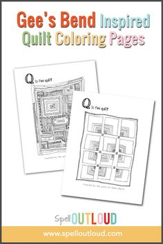 I have such respect for quilters! I know that so much time, planning and heart go into making a quilt. When preparing for the Southeast region geography study, I came across an awesome story about Gee's Bend quilts and their quilting bee history. Have you heard of Gee's Bend before? Free quilt coloring pages