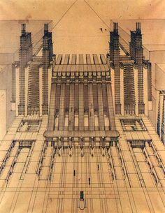 Futurist Architect Antonio Sant'Elia Inspired Blade Runner and Metropolis Movement In Architecture, Architecture Drawings, Futuristic Architecture, Architecture Design, Concrete Architecture, Antonio Sant Elia, San Antonio, Blade Runner, Citation Art