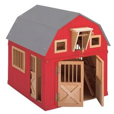 Gable Barn with Side Stall - Blueberry Forest Toys
