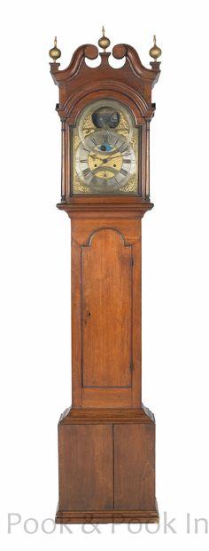 Delaware Queen Anne Tall Case Clock Circa 1750 Eight Day Movement