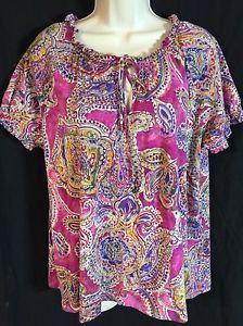 LRL Lauren Ralph Lauren Knit Sz 2X Boho Peasant Shirt Top Cotton Short Sleeve | eBay