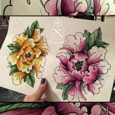 Peonies tattoo on sketch (on paper) neo-traditional by Mariya MATRESHKA Fedoseeva Tattoo Japanese Style, Japanese Tiger Tattoo, Japanese Flower Tattoo, Japanese Sleeve Tattoos, Japanese Flowers, Hannya Tattoo, Irezumi Tattoos, Unique Tattoos, Cute Tattoos
