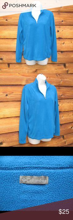 "Columbia Half Zip Fleece Pullover Jacket Columbia Half Zip Fleece Pullover Jacket  *Excellent condition  Details: Columbia Size: M Color: Turquoise Half zip style Thin fleece Long sleeve 100% Polyester  Measurements: Length: 24"" Bust: 40"" Waist: 36"" Columbia Tops Sweatshirts & Hoodies"