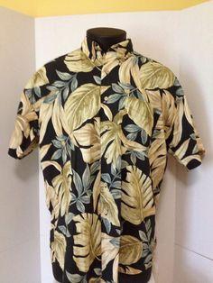 Chaps Ralph Lauren Men's Size L Hawaiian Camp Shirt Beige Blue Palm Leaves #ChapsRalphLauren #Hawaiian