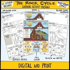 Rock Cycle Science ComicDiscover the stages of the rock cycle with this fun science comic. Did you know the Earth's interior is so hot it can actually melt rock? Melted rock is called magma, and this is the start of the rock cycle. This engaging comic explains the cycle and describes the three types... Easel Activities, Interactive Activities, Learning Activities, Comic Template, Science Comics, Education Middle School, Rock Cycle, Visual Learning, Student Drawing