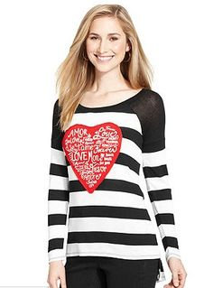 Style&co. Striped Heart High-Low Top - $27.99 only! More Valentine's Day outfit ideas here: http://www.rewards4mom.com/look-totally-adorable-valentines-30/