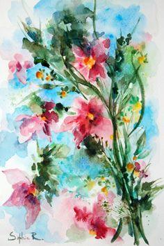 Abstract Art. ORIGINAL Watercolor Painting. Pink Green Azure. Flowers Watercolor Art.