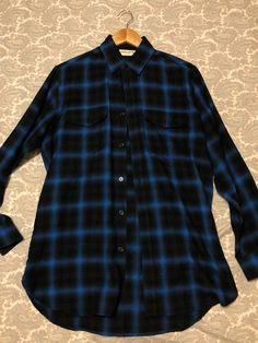 08661025272 Saint Laurent Paris Saint Laurent Shadow Plaid Blue Flannel Button Up Shirt  Size US L /