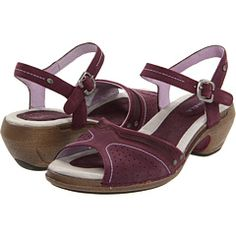 My fave brand of ortho-friendly shoes, Merrell, is making some rather cute sandals. These plum low-heeled sandals are pretty cute!