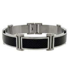 Men's Stainless Steel Black Carbon Fiber Link Bracelet Gemologica.com offers a large selection of men's bracelets available in Sterling Silver, stainless steel, titanium, leather, diamond, 10K, 14K and 18K yellow, rose and white gold. We offer unqiue fashion bracelets including beaded and cuff chains. Jewelry for men can be found on www.gemologica.com here: www.gemologica.com/mens-jewelry-c-28.html and bracelets here www.gemologica.com/mens-bracelets-c-28_45.html