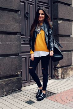 winter outfit with #mustard sweater, jeans and ethnic #necklace More on…