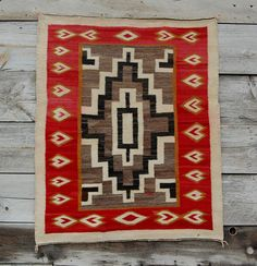 "1930s UNIQUE HEARTS BORDER NAVAJO RUG Native Indian blanket Navaho CHURRO MERINO   about 45"" by 53""  ebay.com  seller is  ranchfolks  beautiful example"